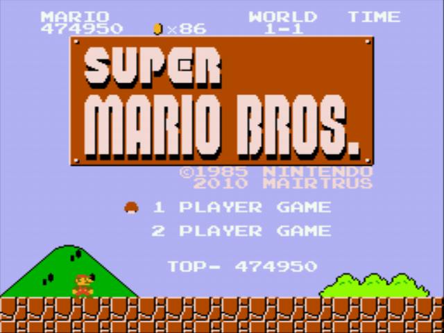 Super Mario Bros - Genesis - title screen - User Screenshot